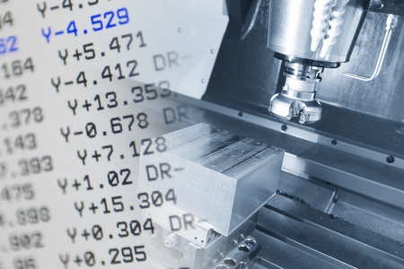 The CNC machine and the NC data scene  use micro cutting process with NC data display