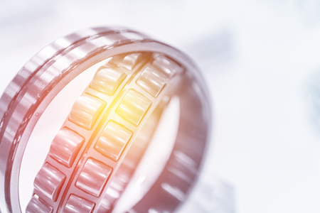 Close-up of the rolling bearing with the lighting effect. Stock Photo