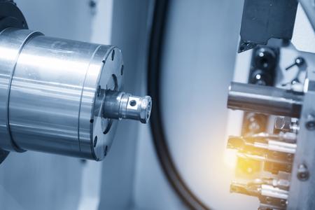 CNC lathe machine / Turning machine cutting the screw thread .Hi-precision CNC machining concept. 스톡 콘텐츠