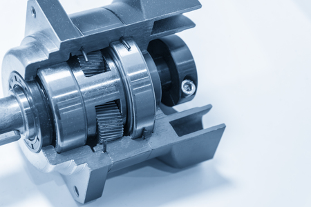 The planetary gear in transmission gear box show the inside part.Automobile part. Stock Photo