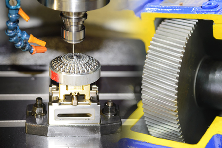 The abstract scene of CNC machining center with the bevel gear.Hi-precision machining process concept. Stock Photo