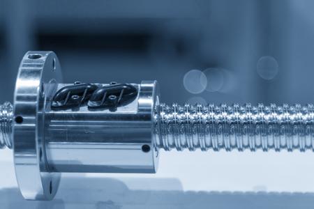 The lead screw shaft spare part of CNC machine. Foto de archivo