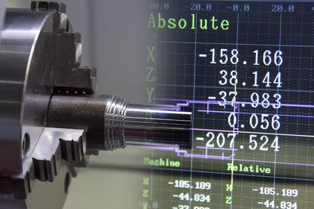 The abstract scene of CNC lathe machine and coordinate data.