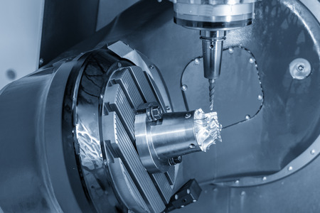 The  5-axis CNC milling machine  Cutting the aluminium turbine blade part with solid ball end mill tool. Hi-precision aerospace part manufacturing process.