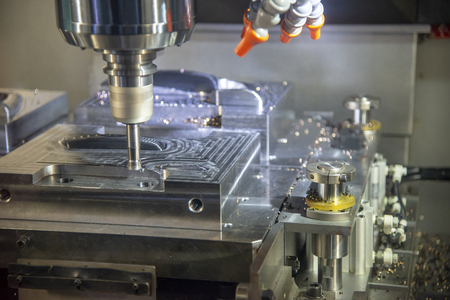 The operation of CNC machining centre cutting the mould parts .The CNC milling machine rough cutting with the index-able radius end mill tool.
