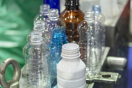 The various type of PET bottle sample parts. The plastic bottle container show in the shelf. Stock Photo - 126560887