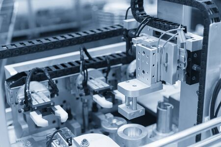 The pneumatic system in the electronics assembly line. The industrial 4.0 in electronics industry factory.