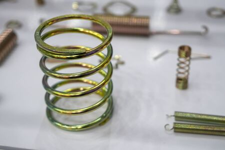 The coil spring in close-up scene. The various type of wire spring . Banco de Imagens