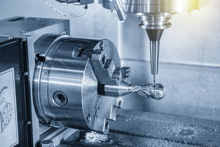 The 4-axis CNC milling machine cutting the sample parts with ball endmill tools. The 3-axis machining center attach the rotary table for cutting the sample parts.
