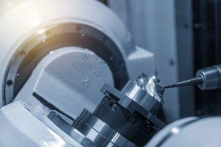 The 5-axis CNC machining center cutting the turbine blade parts with solid ball endmill tool. The automotive parts manufacturing process by 5-axis CNC milling machine.
