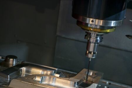 The touching probe attach with the spindle of CNC milling machine for on the machine measuring process. The mold quality control processing on the 3 axis machining center with touching probe.