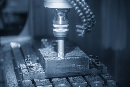 The CNC milling machine rough cutting the injection mold parts with radius index-able tools. The mould and die manufacturing process by 3 axis machining center with indexable radius endmill tools.