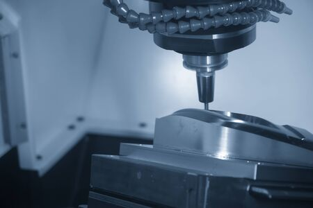 The hi  precision injection  mold  cutting process on 5-axis CNC milling machine with solid ball end mill tools. The mold and die manufacturing process on 5-axis machining center.
