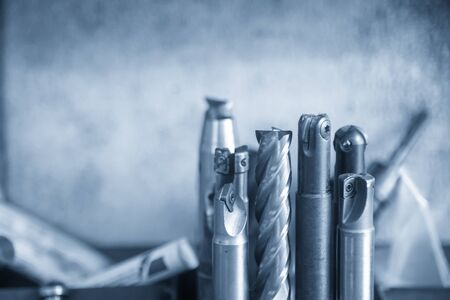 The various type of CNC milling cutting tools on the tool room. The cutting tools for machining center ,ball endmill,flat or square endmill,and indexable tools.
