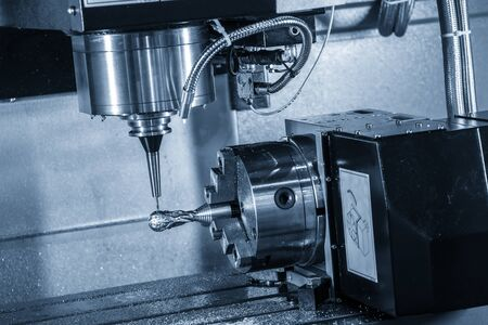 The  multi-axis  CNC milling machine  cutting the hi-precision sample part by solid ball endmill tools. The 4-axis machining center cutting the sample parts on indexable attachment.