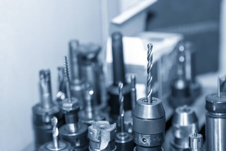 The various type of CNC milling cutting tools on the tool room.