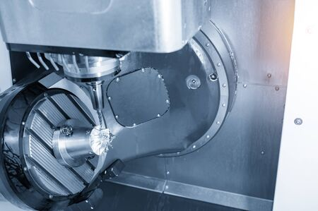 The 5-axis CNC milling machine cutting the aluminium turbine propeller part by solid ball endmill tools. The automotive parts manufacturing process by 5-axis machining center.