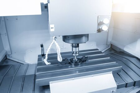 The touching probe attache the CNC milling  machine  measure dimension of ring gauge parts for calibration process. The quality control process  of machining center .
