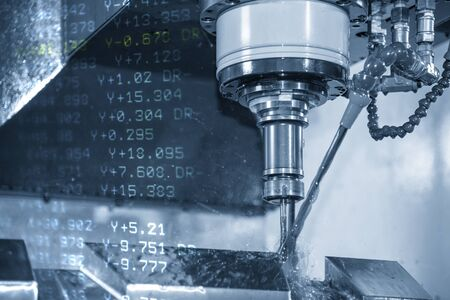 The abstract scene of CNC milling machine and the G-code data background. The mold and die manufacturing process by machining center . Stok Fotoğraf