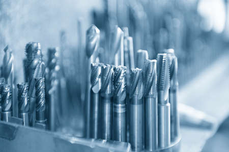 Close-up scene of the used solid  endmill tools for CNC milling machine .The  cutting  tool for machining center.