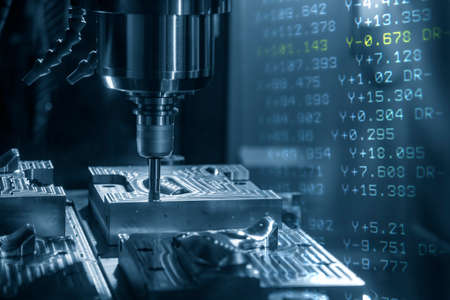 Abstract scene of CNC milling machine and G-code data background. The hi-technology mold and die manufacturing concept by machining center. Standard-Bild