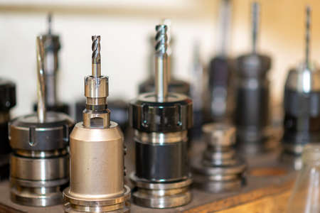 Close-up scene of the solid  end-mill tools for CNC milling machine .The  cutting  tool for machining center. Standard-Bild
