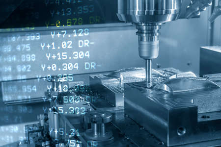 Abstract scene of CNC milling machine and G-code data background. The hi-technology mold and die manufacturing concept by machining center. 版權商用圖片 - 157823079
