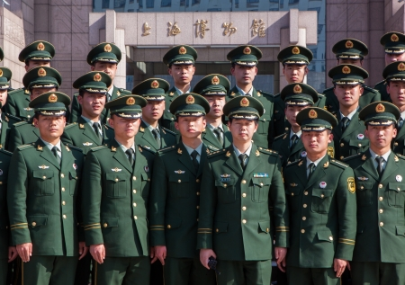 build up: Chinese Military Police graduates in front of the Shanghai museum, a build up of the powerful Chinese Army  Editorial