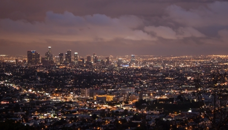 los: Los Angeles Skyline at Night Stock Photo