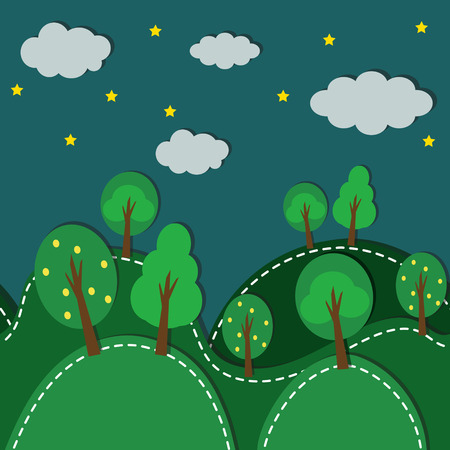 Forest At Night seamless pattern.Vector Background. Vector