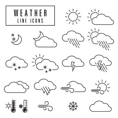 Weer pictogrammen, eenvoudig en dunne lijn ontwerp