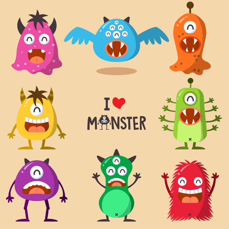 ludicrous: Monster Funny And Cute Character Set