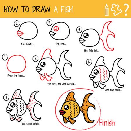 Dessin tutoriel. Comment dessiner un poisson. Pas à pas.