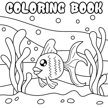 bubble sea anemone: Fish. Underwater world. Black and white illustration for coloring book.