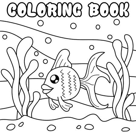 Ryba. Podwodny świat. Czarno-biała ilustracja dla kolorowanka.
