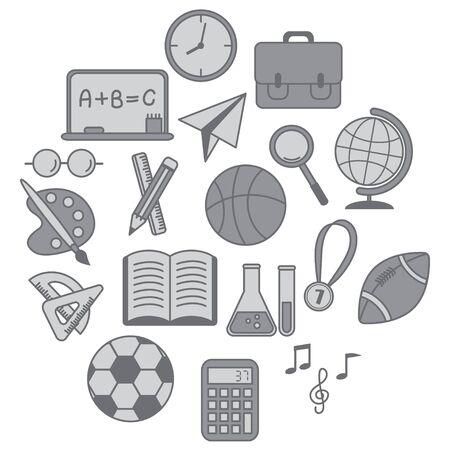 talking dictionary: Education icons set,Gray version.