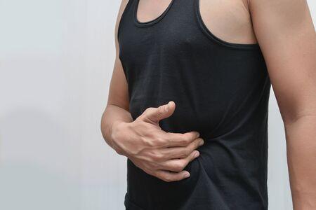 Men have Stomach pain - visceral pain.