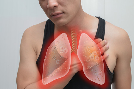 inflammated: Man pain, lung infection and lung image.The concept is easy to understand information about the disease.