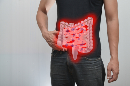 cardia: Man pain in the intestine And intestinal picture.The concept is easy to understand information about the disease.
