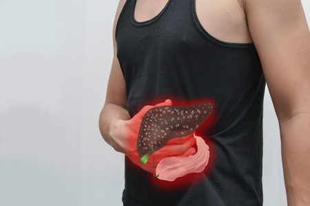 Man pain liver and liver picture The concept is easy to understand information about the disease. Stock Photo
