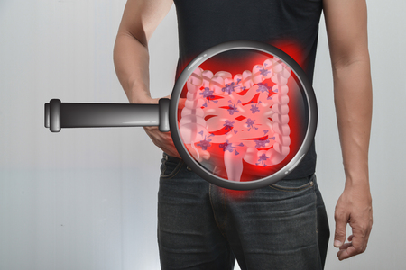 Man pain in the intestine And intestinal picture.The concept is easy to understand information about the disease.