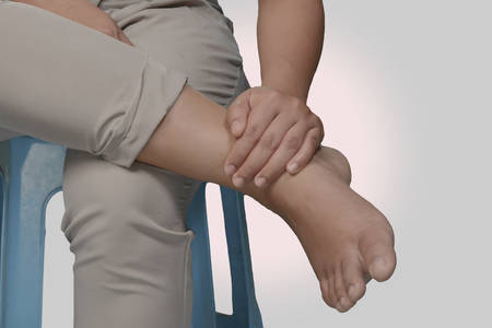 anklebone: Women knee and leg pain.Concept for easy understanding. Stock Photo