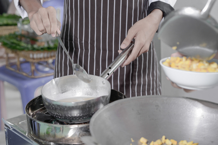 Thailand chefs are cooking with pans (Pad Thai).