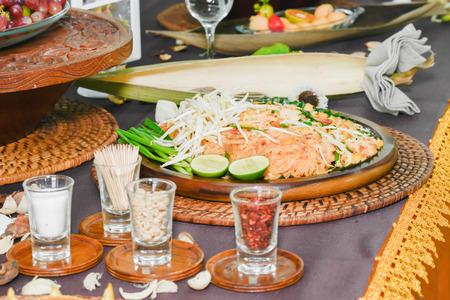 elaborate: beautiful and artistic Pad Thai onTableware, Asian, Thailand. Stock Photo