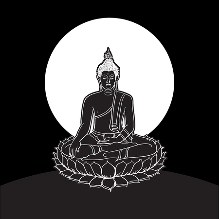 Buddha statue, Line drawing.