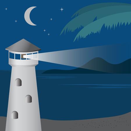 Lighthouse at night. Illustration