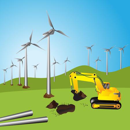Wind turbine, Beautiful sunset above the windmills on the field. Illustration