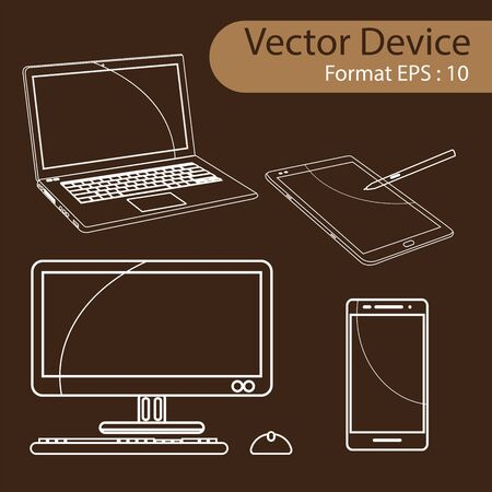 laptop: Set of Digital devices computer monitors, laptops, tablets and mobile phones. Electronic gadgets isolated, vector illustration.