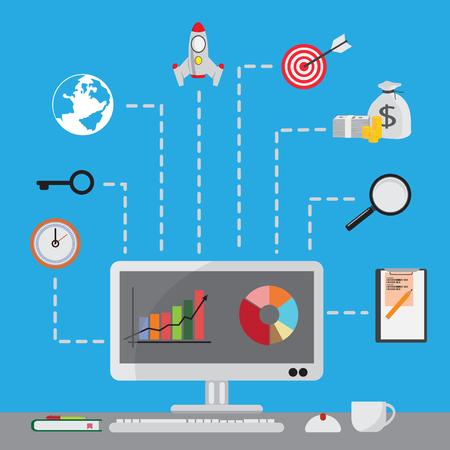 keywords link: search engine optimization success business vector illustration design,Flat icons set.