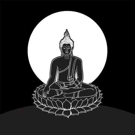 Buddha statue, Line drawing